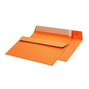 Конверт из цветной бумаги С65, оранжевый, 120г.,отрывная лента