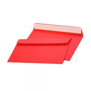 Конверт из цветной бумаги С65, красный, 120г.,отрывная лента