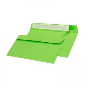 Конверт из цветной бумаги С65, зеленый, 120г.,отрывная лента