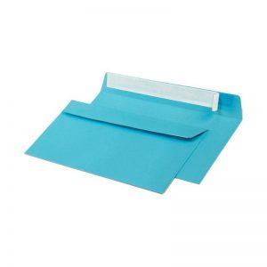 Конверт из цветной бумаги С65, голубой, 120г.,отрывная лента