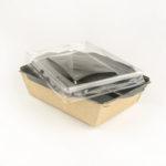 Салатник Opsalad 500 Be с прозрачной крышкой и черной ламинацией
