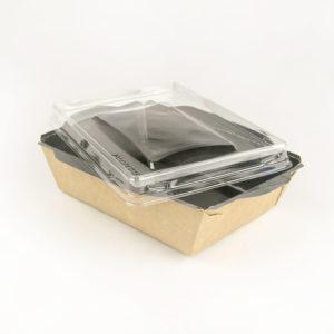Салатник Opsalad 400 Be с прозрачной крышкой и черной ламинацией